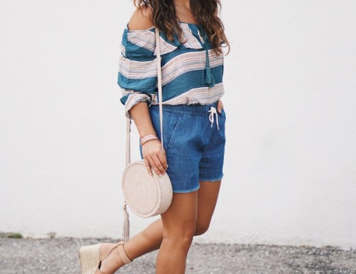 Sugar Love Chic blogger Krista Perez style Wild Blue Denim Cold Shoulder Top under $30