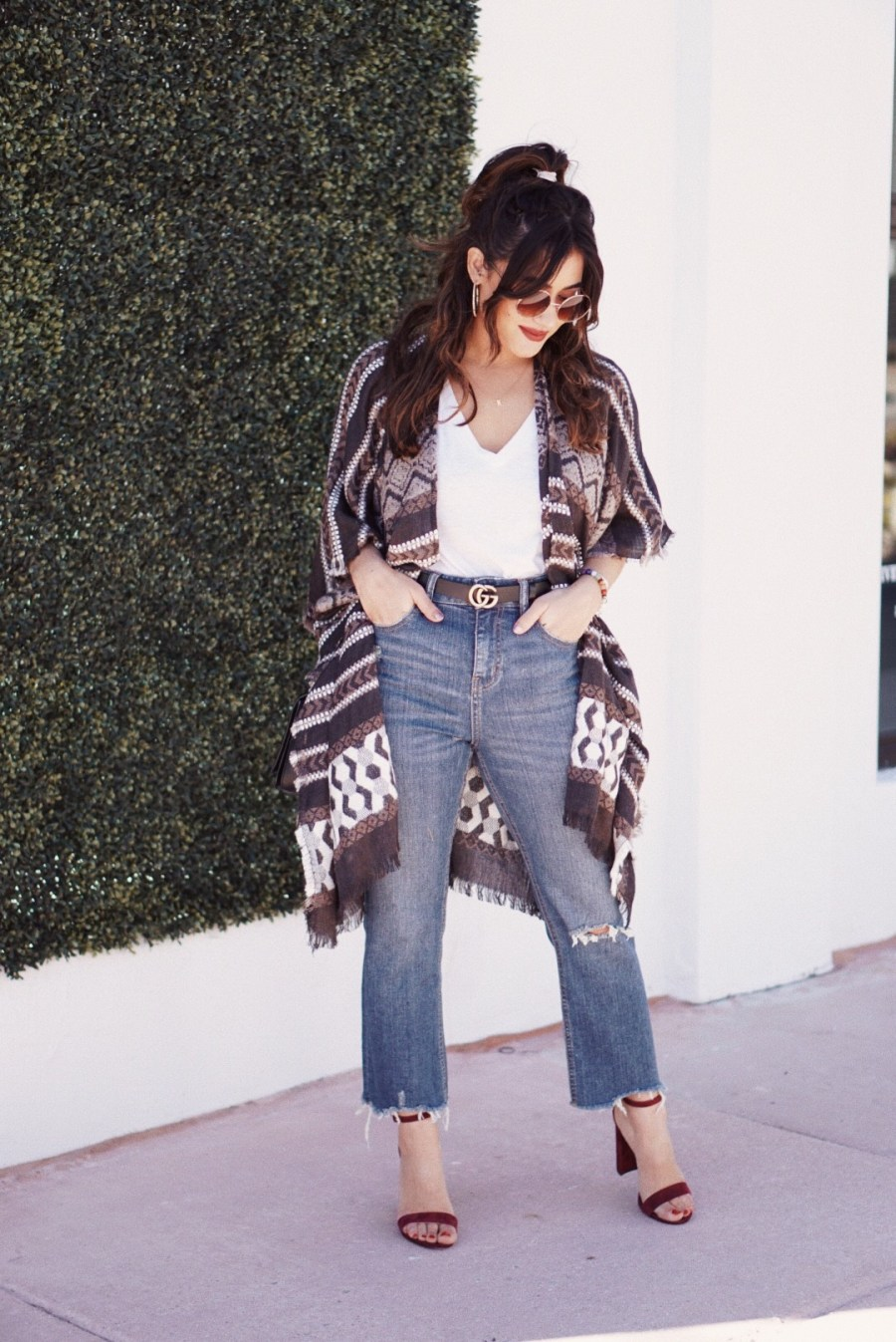 Lucky Brand Poncho, Pattern Poncho, Lightweight Outerwear, Neutral Outfit, Miami Blogger