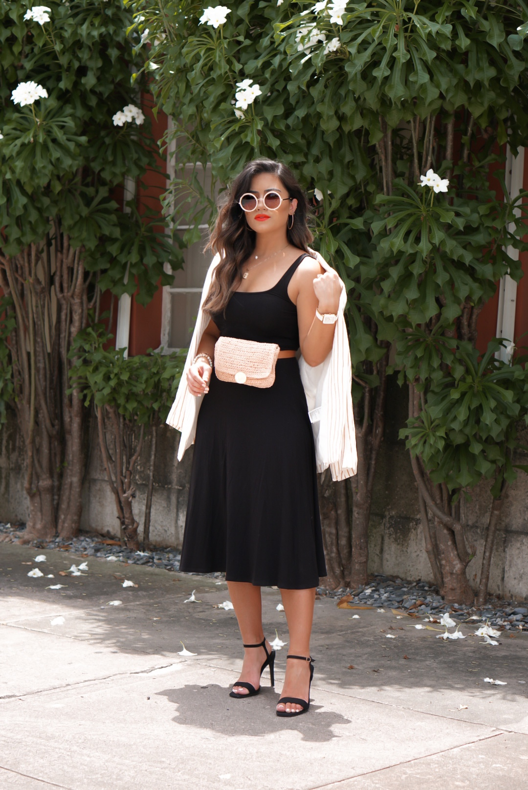 Black Midi Dress Outfit with Blazer and