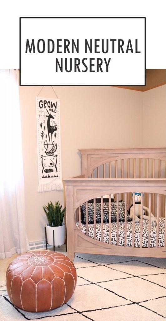 Modern Neutral Nursery Design - Milk Street Crib Cameo in Toast