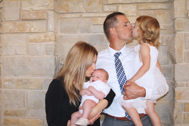 Levi's Baptism Family Photo Kissing Our Babies