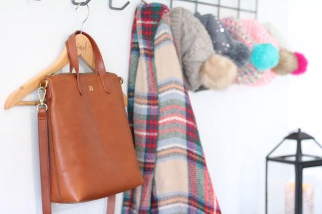 Garage Organization for Winter Gear | purse, scarf, hat hooks