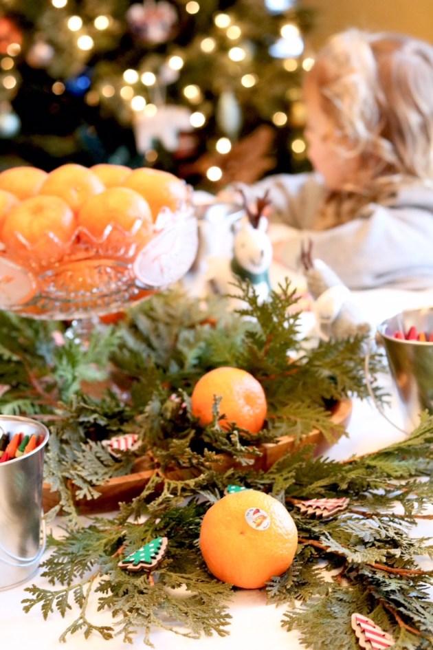 DIY Colorful and Fresh Christmas Kids Table - Greenery and Cuties