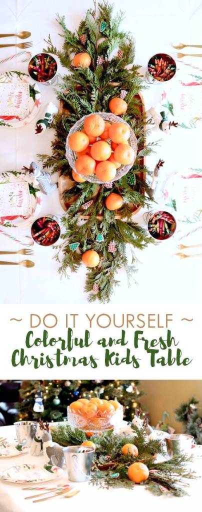 DIY Colorful and Fresh Christmas Kids Table - Tablescape Idea