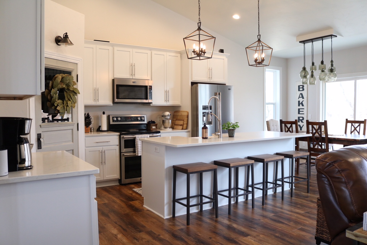 farmhouse style kitchen islands pop up electrical outlets for modern reveal sugar maple notes