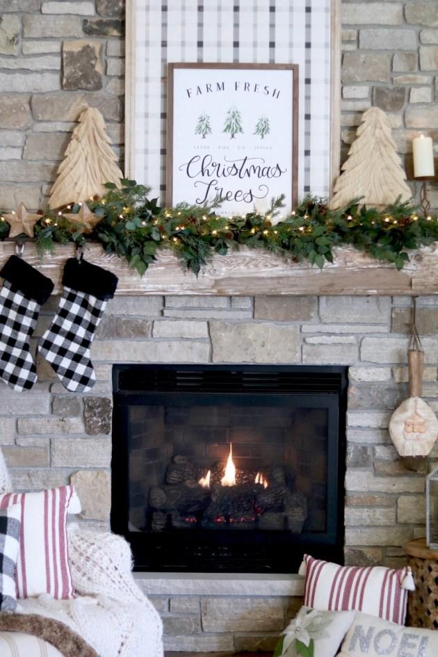 Farmhouse Christmas Mantel Diy Plaid Sign Sugar Maple