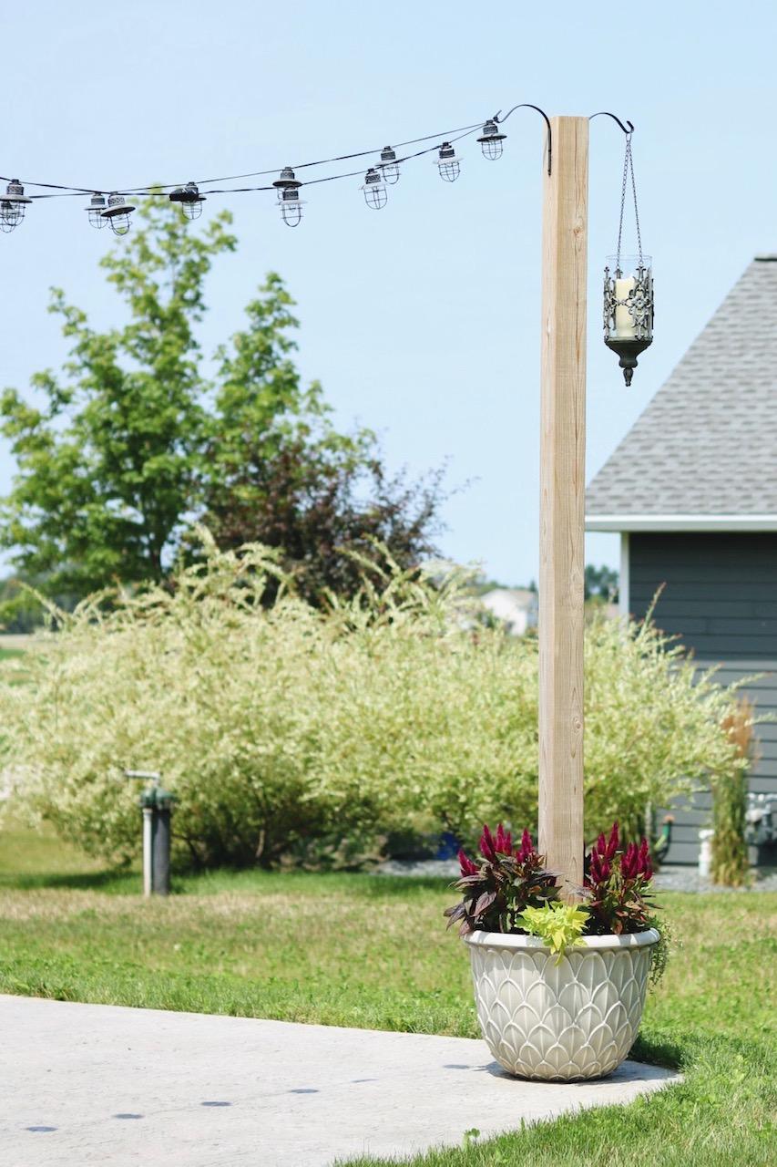 DIY Planter Posts for String Lights - Backyard Patio Ideas ...