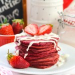 Red velvet Pancakes with Cream Cheese Drizzle