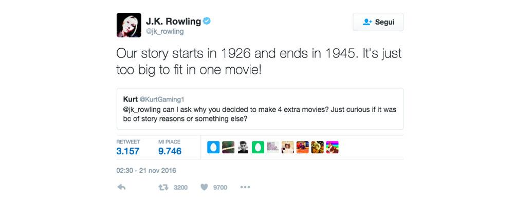 J.K. Rowling conferma che il franchise di Animali Fantastici durerà 20 anni