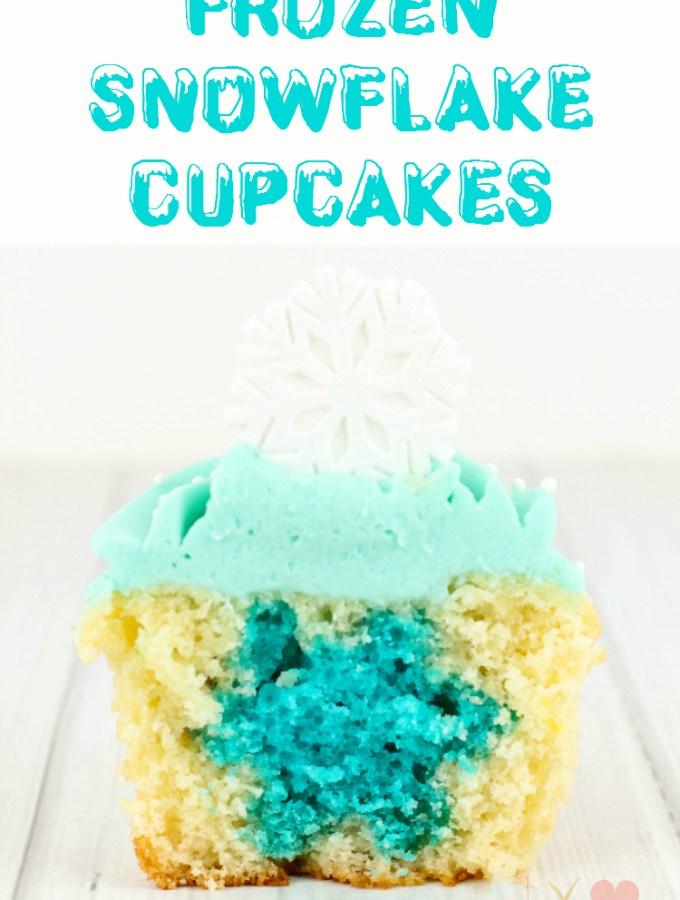 FROZEN Hidden Snowflake Cupcakes