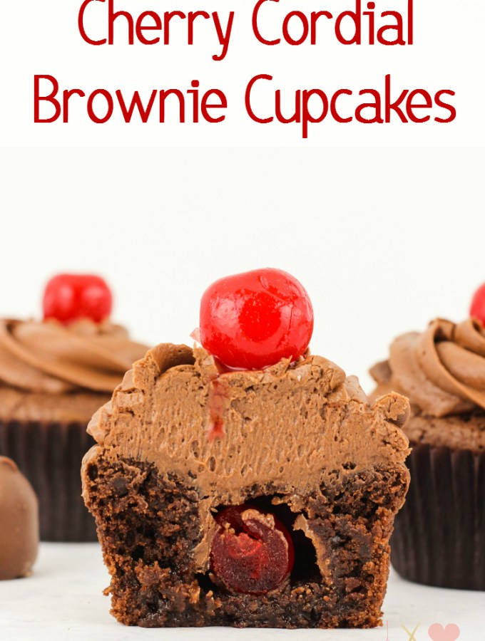 Cherry Cordial Brownie Cupcakes