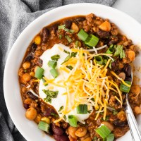 Perfectly seasoned beef cooked with beans, vegetables, and flavorful spices. This Easy Beef and Bean Chili can be made in a slow cooker or an Instant Pot for a warm, comforting weeknight meal!