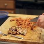 burrito meat chopping
