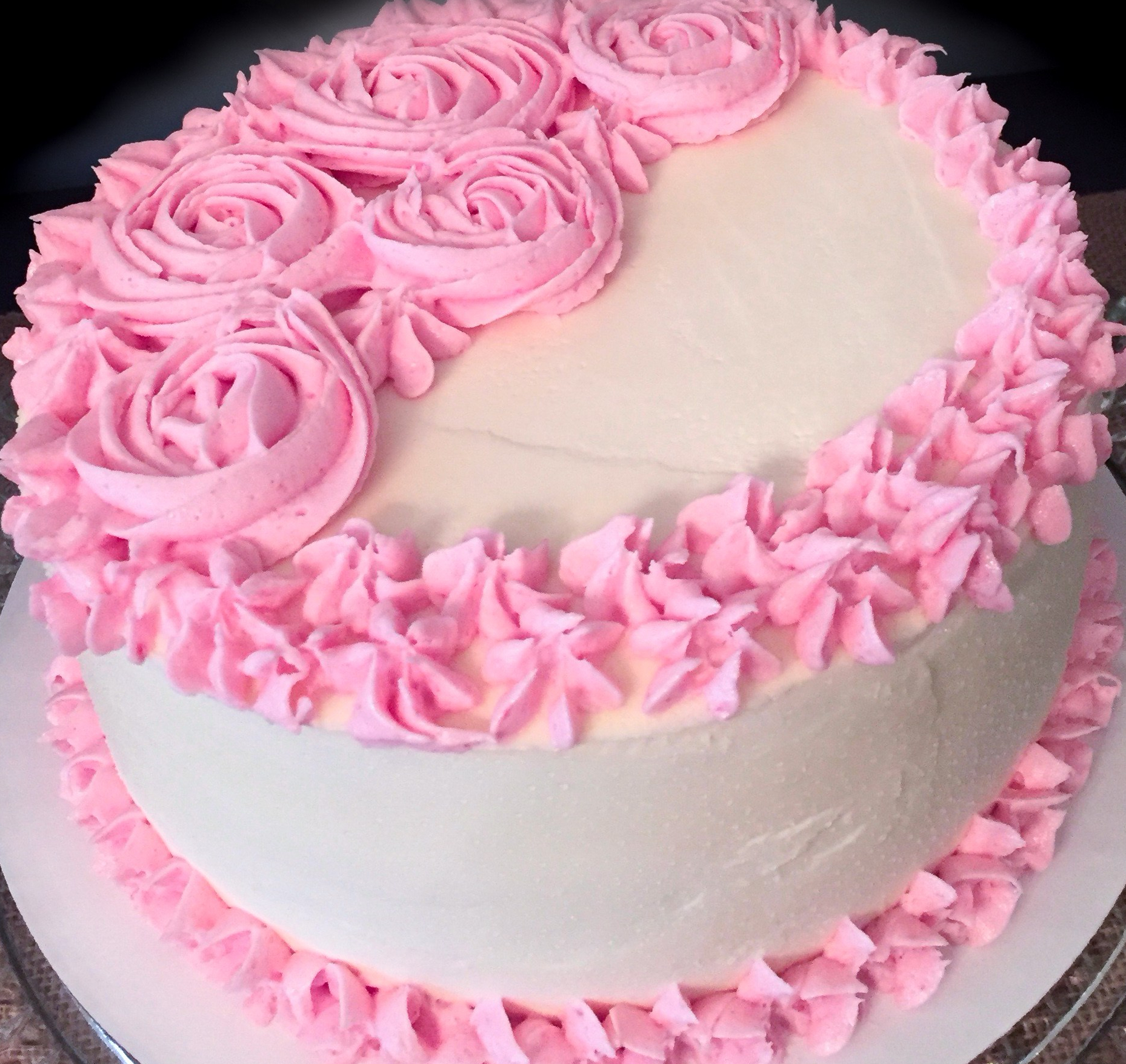 White Almond Cake with Raspberry Filling and Buttercream Frosting ...
