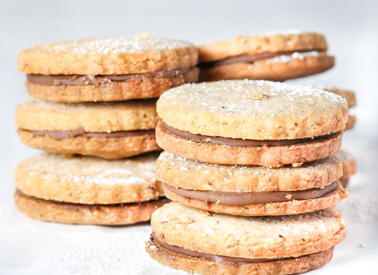 Hazelnut Shortbread Cookies with Nutella Filling