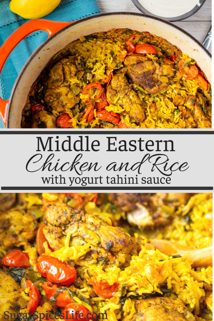 Chicken and rice are cooked with delicious spices, then topped with a yogurt tahini sauce. This Middle Eastern Chicken and Rice with Yogurt Tahini Sauce is packed full of unique, delicious flavors!