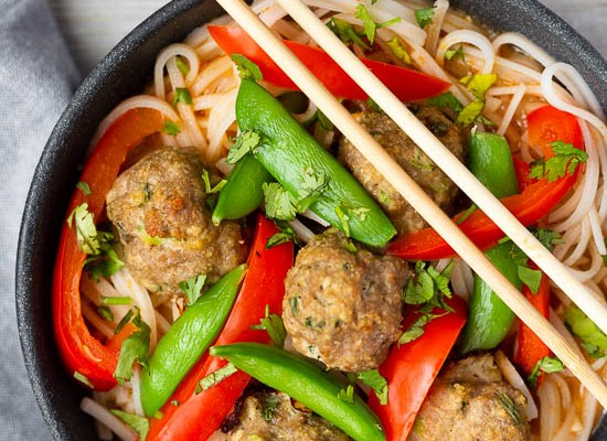 Thai Curry Soup with Turkey Meatballs