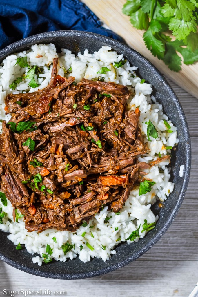 Barbacoa Beef. Flavorful, delicious pulled beef made in your Instant Pot or slow cooker. Great in tacos or over cilantro lime rice.