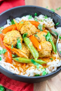 Curry Meatballs over Coconut Rice