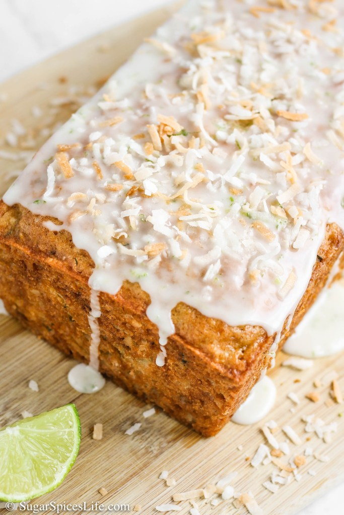 Coconut Lime Zucchini Bread. Toasted coconut and fresh lime zucchini bread that is topped with a toasted coconut and lime glaze.