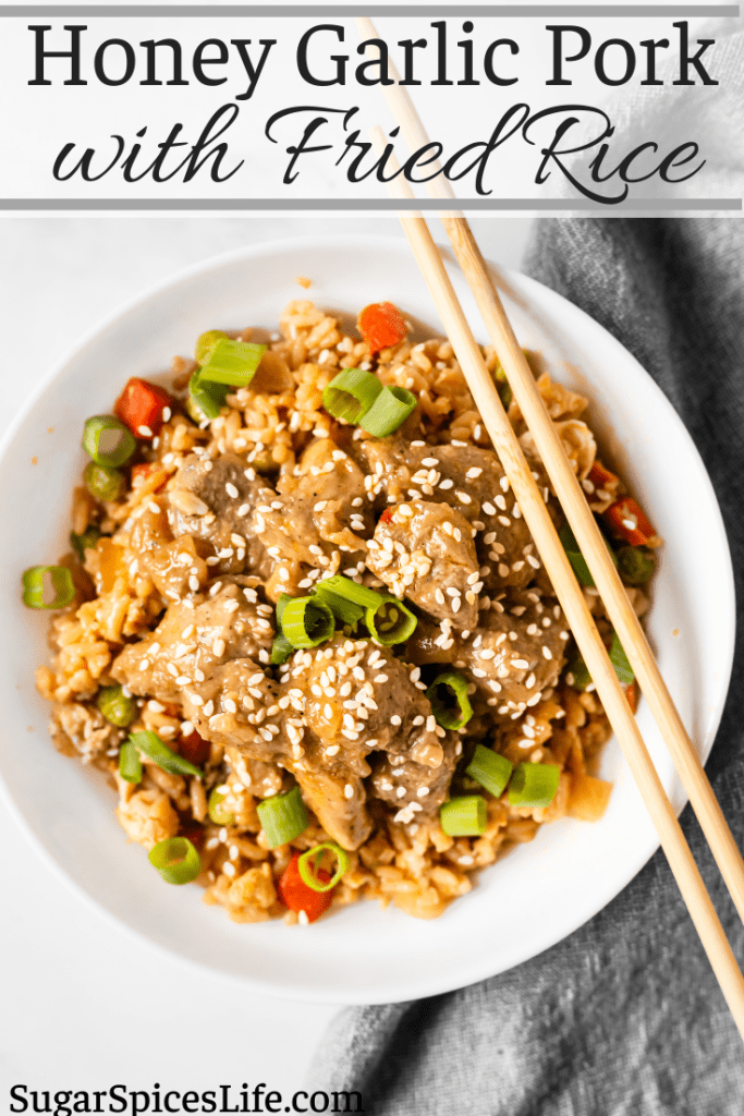 Pork in a delicious honey, garlic sauce over the easiest, best fried rice. This Honey Garlic Pork with Fried Rice is as tasty as takeout in under an hour at home!