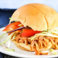 Shredded BBQ Chicken Sliders (Instant Pot or Slow Cooker). Chicken in an amazing, homemade BBQ sauce topped with fresh slaw.