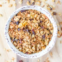 Tropical Granola. Oats, hemp and flax seeds, dried cranberries and pineapples, and coconut. A delicious, easy to make granola with tropical vibes.