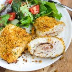 Bacon Chicken Cordon Bleu. Chicken stuffed with ham, swiss cheese, and bacon, then rolled in a delicious breadcrumb mixture. A tasty twist on chicken cordon bleu!