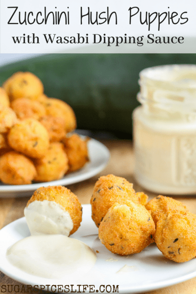 Zucchini Hush Puppies with Wasabi Dipping Sauce. Hush puppies made with zucchini, fried to a perfect crisp, and dipped in a wasabi sauce. Vegetables have never tasted so good.