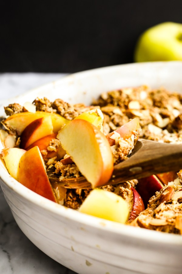 Healthier Apple Crisp. Fresh apples baked with a honey sweetened oatmeal topping. A delicious dessert that's on the healthy side!