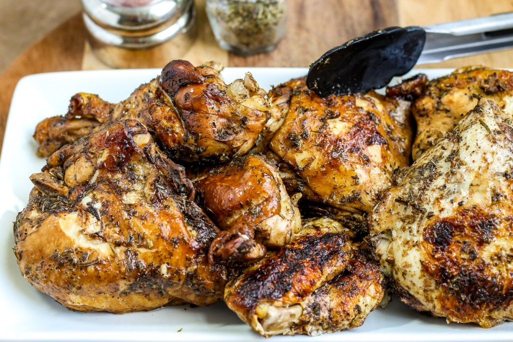 Instant Pot Roasted Balsamic Chicken. A whole chicken marinated in balsamic and herbs de Provence, then cooked in an Instant Pot. Tastes like a pull apart rotisserie in much less time!