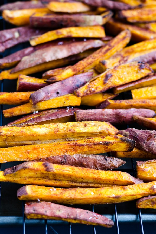 Oven Baked Sweet Potato Fries. Delicious sweet potato fries lightly sweetened with cinnamon and sugar. Baked to be perfectly crisp. A tasty snack or side dish!