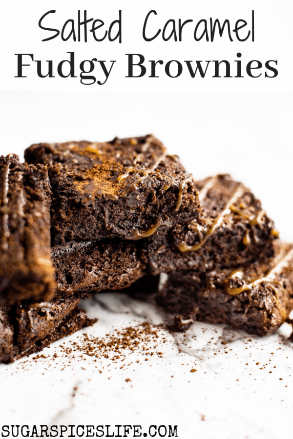 Salted Caramel Fudgy Brownies. Rich, fudgy brownies with a ribbon of homemade caramel. Topped with a little salt to give the perfect balance.