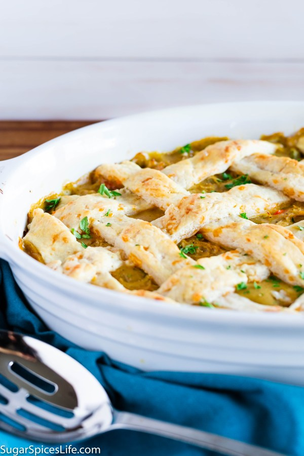 Chicken Pot Pie with Cheddar Crust. Deliciously seasoned chicken and vegetables topped with a perfect cheddar pastry crust!