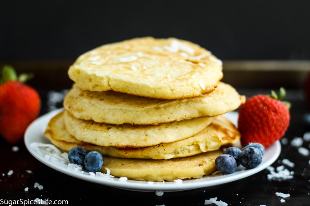 Coconut Milk Pancakes. Fluffy, delicious pancakes made with coconut milk and sweetened with honey!