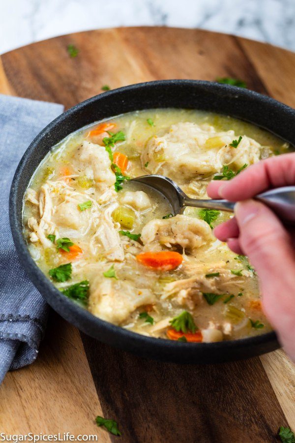 Instant Pot Chicken and Buttermilk Dumplings. Deliciously seasoned chicken and vegetable soup with perfect buttermilk dumplings. Quick and easy to make in an Instant Pot or other pressure cooker.