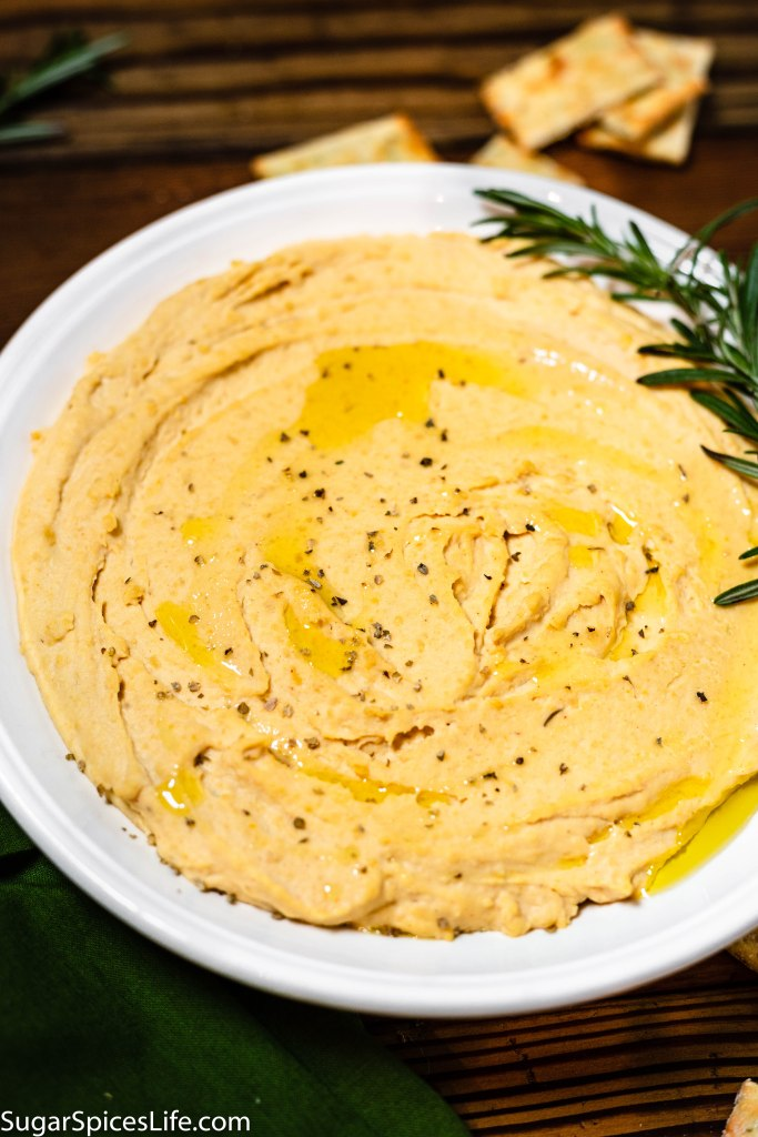 Instant Pot Rosemary Garlic Hummus. Creamy, delicious hummus with the garlic and rosemary flavors. Made easily in an Instant Pot!