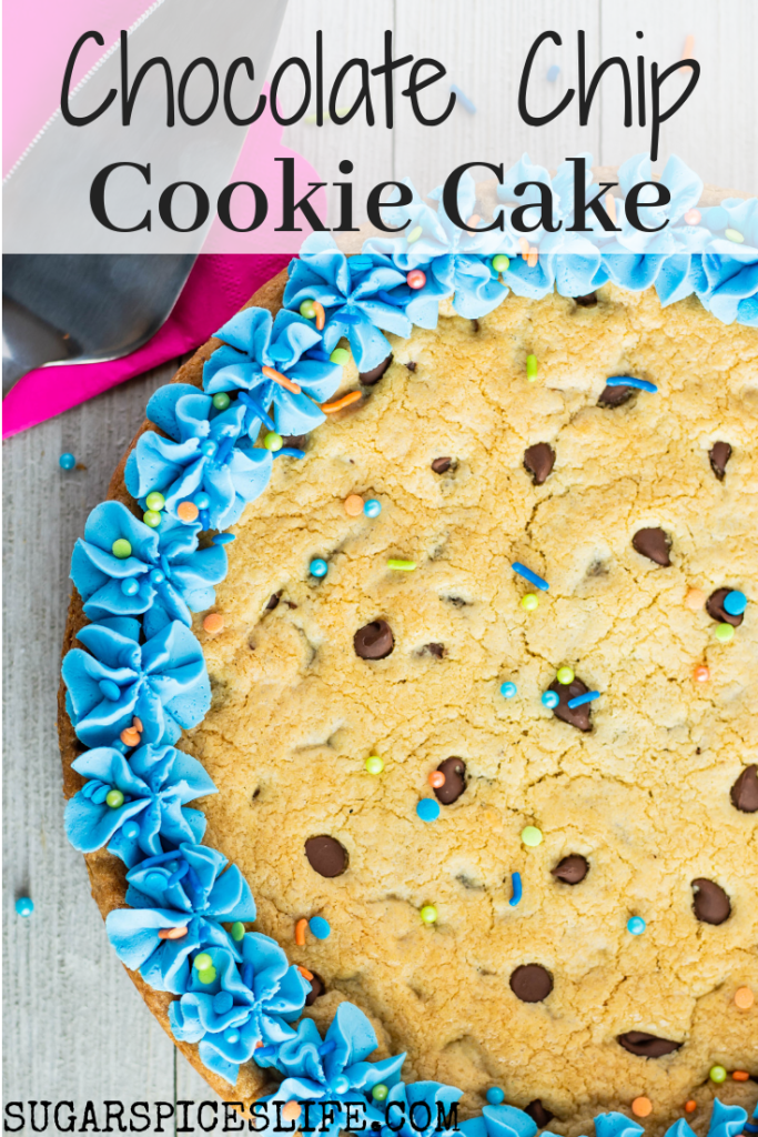 Chocolate Chip Cookie Cake. A giant, soft chocolate chip cookie that is the perfect combination of soft and chewy. Topped with buttercream to make it festive for any occasion!