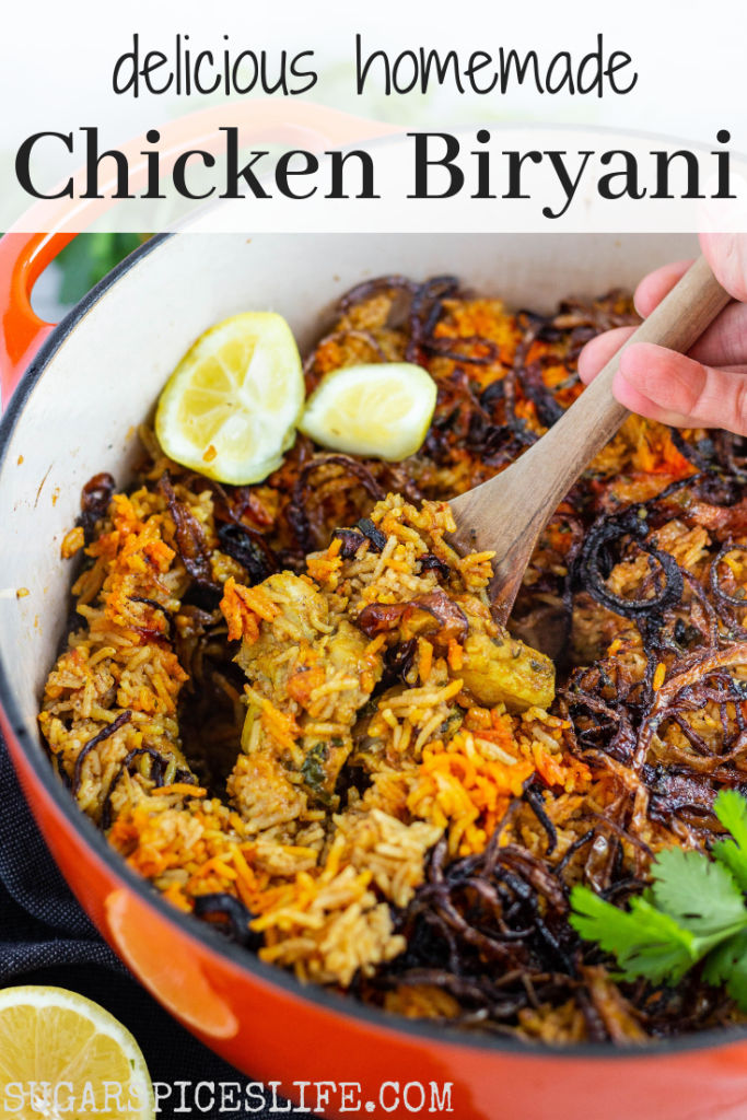 This Chicken Biryani has a layer of juicy chicken thighs marinated in a delicious sauce, topped with rice, fried onions, and the perfect mix of spices. It's full of flavor and a stand alone dinner!