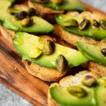 This Avocado Pistachio Brushetta is a quick, easy and delicious party food or appetizer.