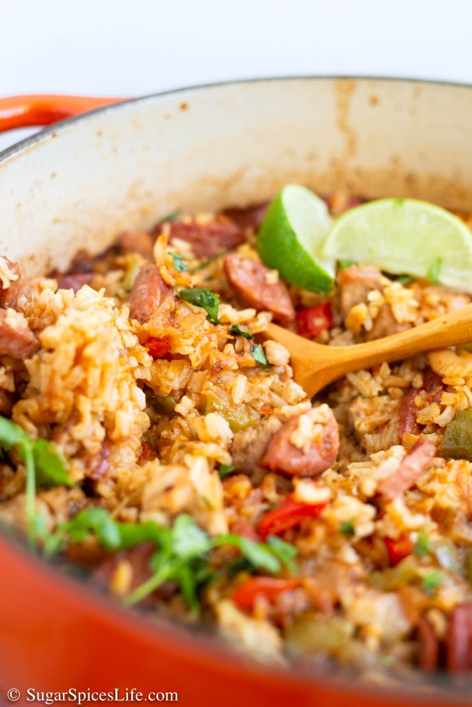 This One Pot Sausage, Chicken and Rice has tender chicken thighs, andouille sausage, and plenty of delicious vegetables. It's full of flavor and made in one pot!