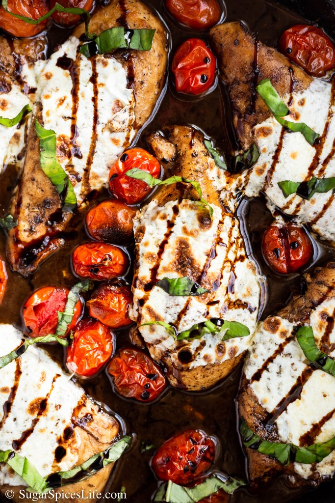 Chicken marinated in a balsamic brown sugar sauce, baked with tomatoes and topped with melted mozzarella and basil. This Brown Sugar Caprese Chicken is a quick weeknight meal that is full of flavor!