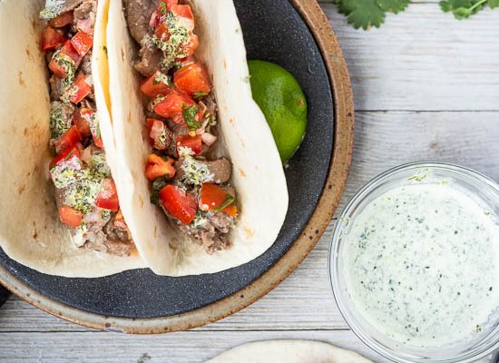 Garlic Beef Tacos with Cilantro Lime Sauce