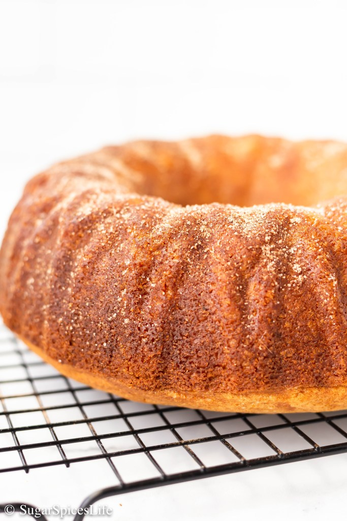 Apple cider mixed with fall spices then baked into a cake that is lightly sprinkled with cinnamon and sugar. This Apple Cider Bundt Cake has all the delicious, warm tastes of fall!