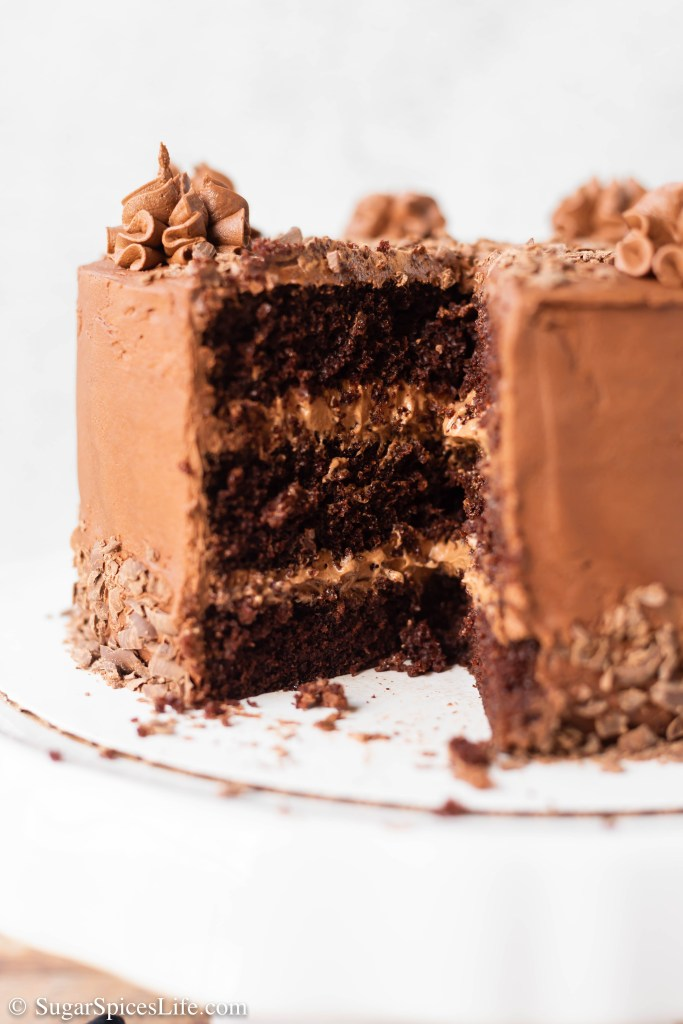 Rich, soft chocolate cake layers with a chocolate mousse filling and finished with a chocolate buttercream frosting. If you're a chocolate lover, this Triple Chocolate Cake is straight out of your dreams!