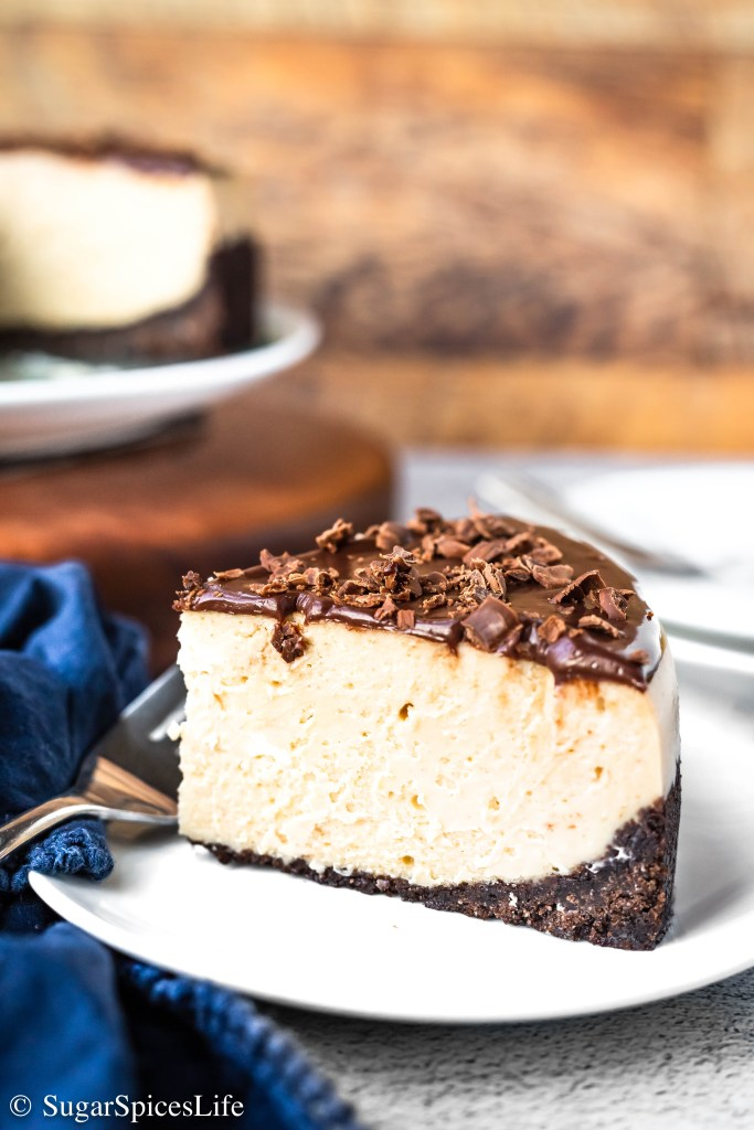 A chocolate and graham cracker crust with a peanut butter cream cheese filling and topped with a chocolate ganache. This Instant Pot Peanut Butter Chocolate Cheesecake is quick to put together and much easier to make than a traditional cheesecake!