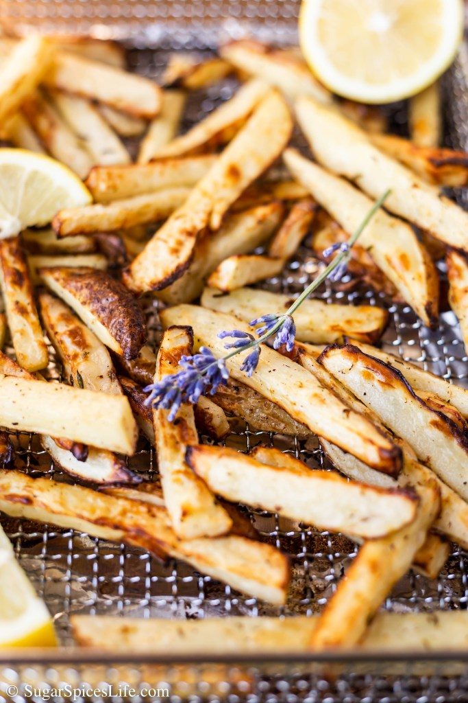 Potatoes coated coated in lemon zest and lavender, sprayed with olive oil, and cooked until they're the perfect combination of crispy and soft. These Lemon Lavender French Fries are great for a side dish or snack!