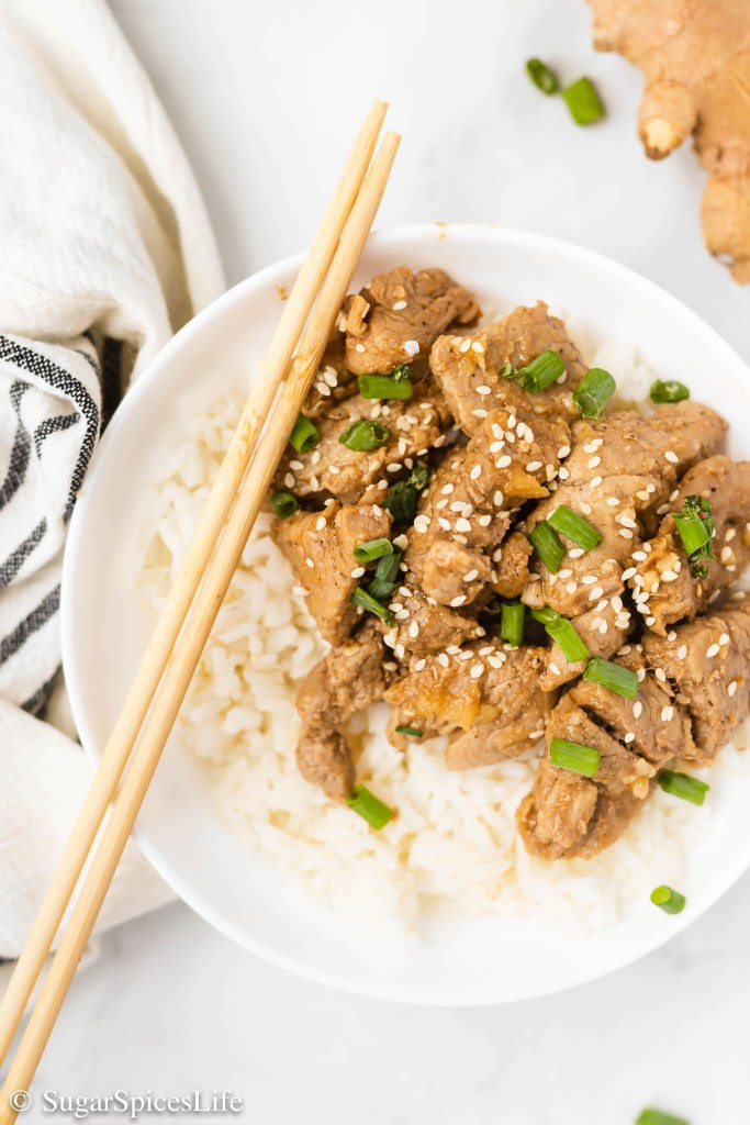 Sauteed pork, ginger and garlic in a delicious sriracha, honey sauce. This Ginger Garlic Pork is a satisfying, delicious meal that's as quick and as delicious as takeout.