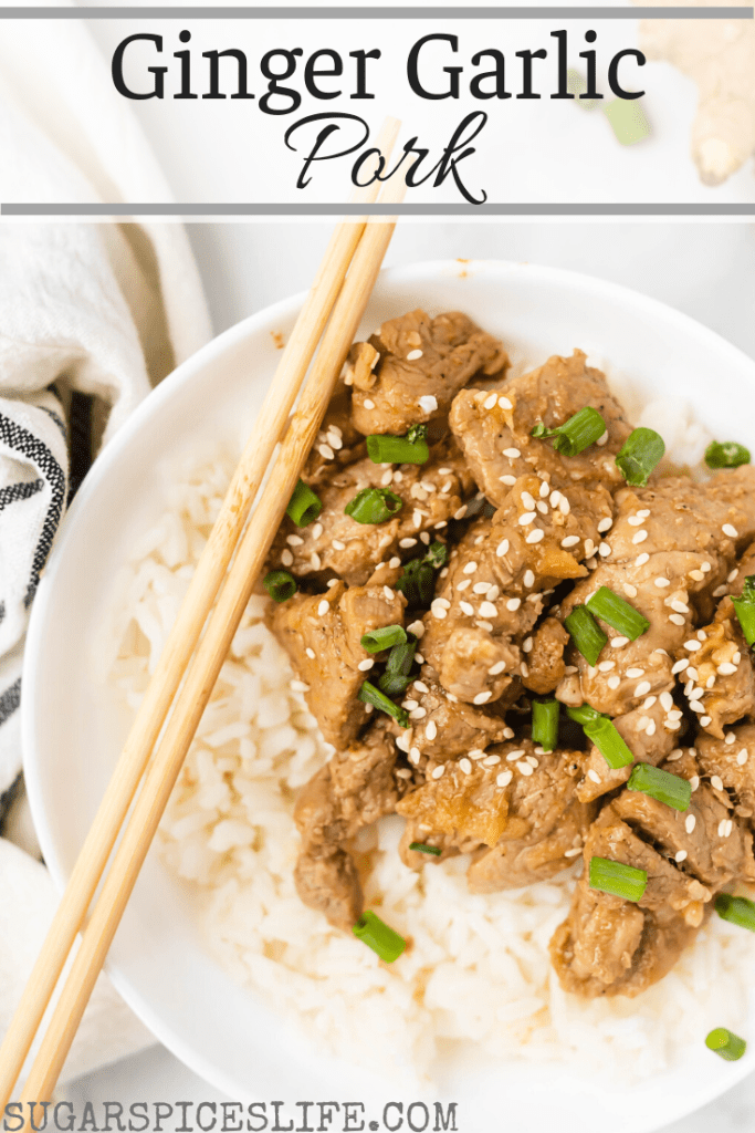Sauteed pork, ginger and garlic in a delicious sriracha, honey sauce. This Ginger Garlic Pork is a satisfying meal that's as quick and as scrumptious as takeout.