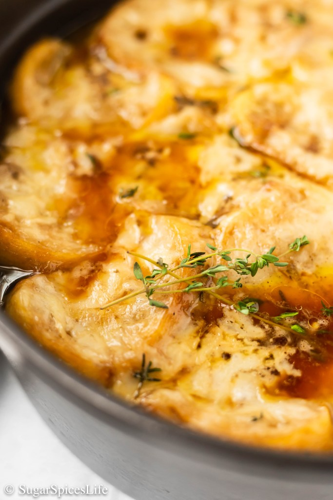 Caramelized onions in a savory beef broth, topped with toasted French bread and melted gruyere cheese, cooked in a large pot. This One Pot French Onion Soup makes for a filling, delicious meal!
